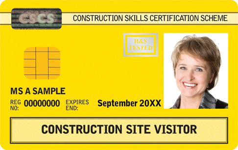 Yellow CSCS Card Construction Site Visitor Card